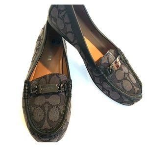 COACH Olive/Black Signature Slip-on  LOAFERS 6.5B